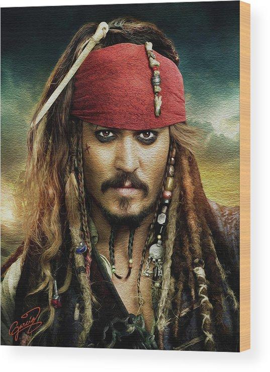 #talentedmusicians #piano #jacksparrow #captainjacksparrow #sparrow #johnnydepp #depp #depphead #potc #piratesofthecaribbean #pirates #disneypirates #potc2 #piratesofthecaribbean2 #lego #moc #afol #instalego #legostagram #hut #technique #blackflag #pirateshappy #birthday #vibes #love #fitcouple #outfit #happybirthday #wednesday #captainjacksparrow #jacksparrow #sparrow #johnnydepp #depp #depphead #potc #piratesofthecaribbean #pirates #blackpearl Wood Print featuring the painting Captain Jack Sparrow by Ed Garcia