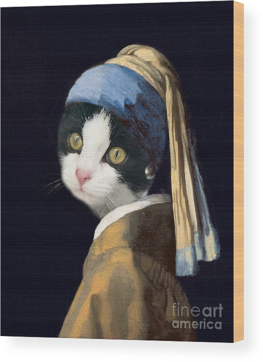 Cat Wood Print featuring the painting Cat With A Pearl Earring by Delphimages Photo Creations