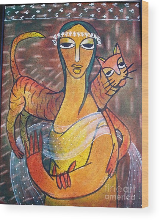 Figurative Wood Print featuring the painting Cat With Woman by Gk
