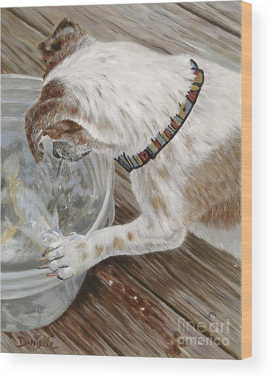 Pet Portrait Wood Print featuring the painting Catch Of The Day by Danielle Perry
