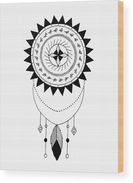 Mandala Wood Print featuring the digital art Catching Dreams by Elizabeth Davis