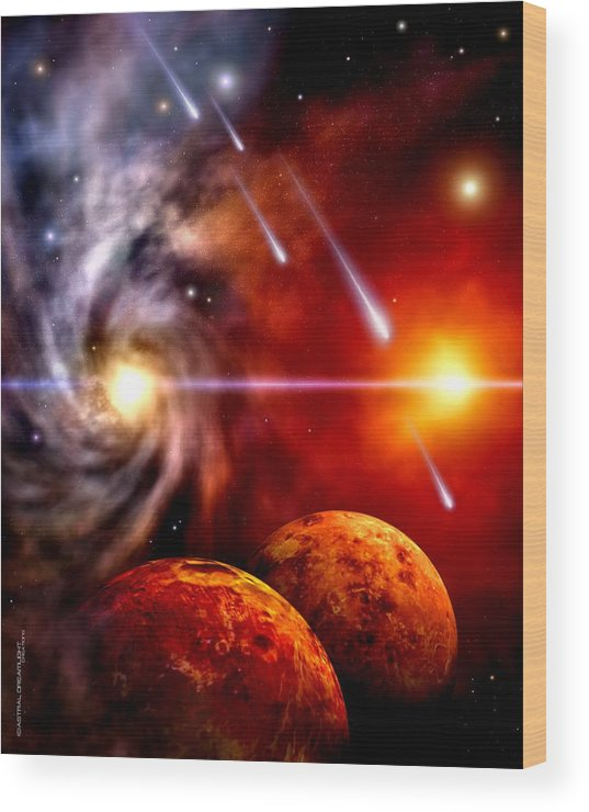 Planets Wood Print featuring the painting Celestial by Dreamlight Creations