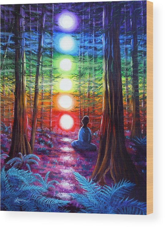Zen Wood Print featuring the painting Chakra Meditation In The Redwoods by Laura Iverson