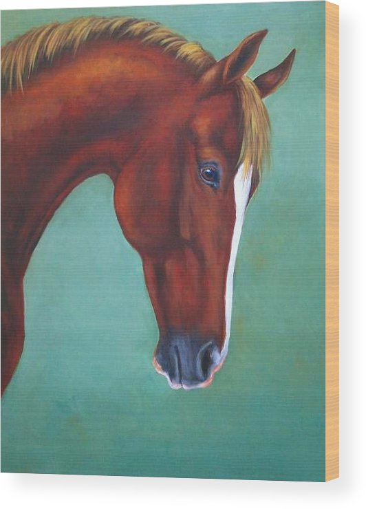 Horse Wood Print featuring the painting Chestnut Horse by Oksana Zotkina