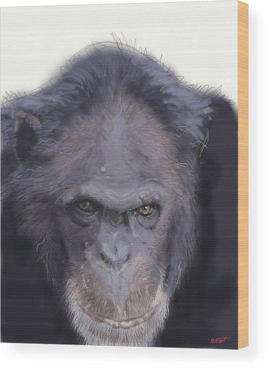 Chimp Wood Print featuring the digital art Chimp by Robert Bissett