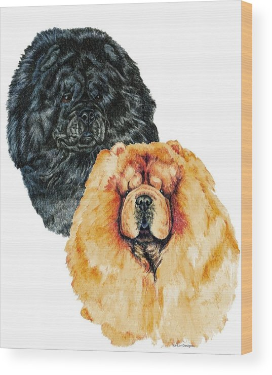 Chow Chow Wood Print featuring the painting Chow Chows by Kathleen Sepulveda
