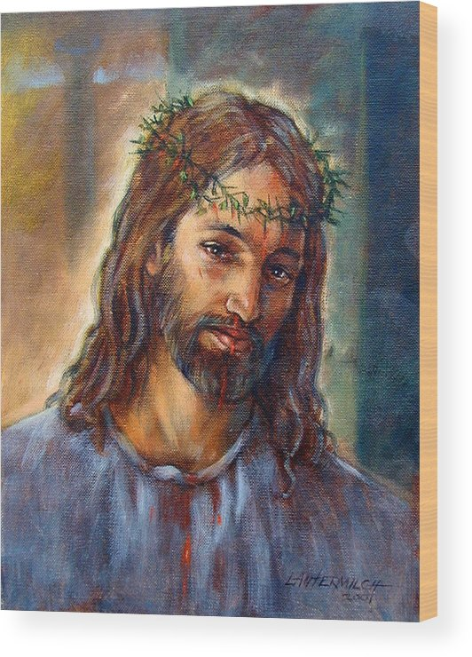 Christ Wood Print featuring the painting Christ With Thorns by John Lautermilch