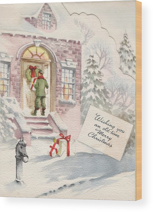 Snowy Winter Eve Wood Print featuring the painting Christmas Greeting Card 36 - Snowy Winter Eve by TUSCAN Afternoon