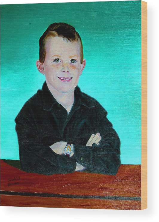 Child Portrait In Oil Wood Print featuring the painting CJ by Stan Hamilton