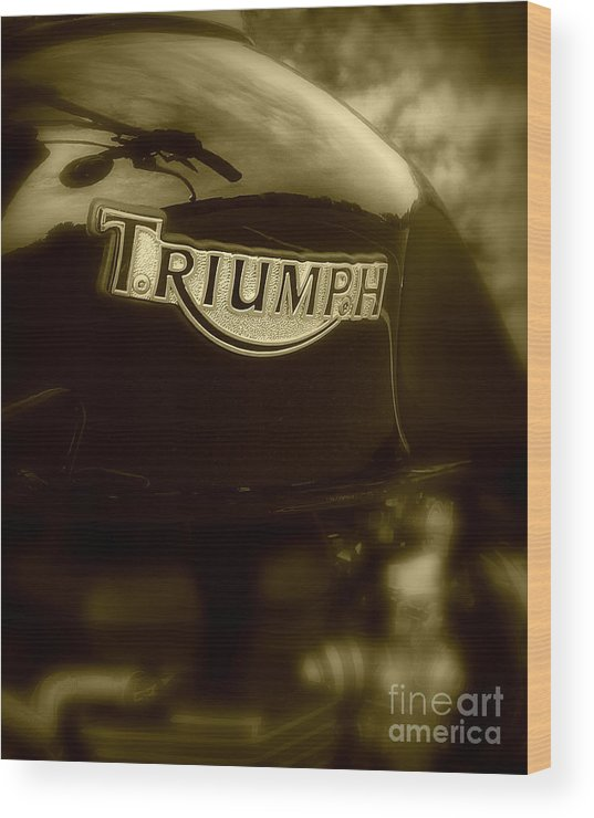 Triumph Wood Print featuring the photograph Classic Old Triumph by Perry Webster