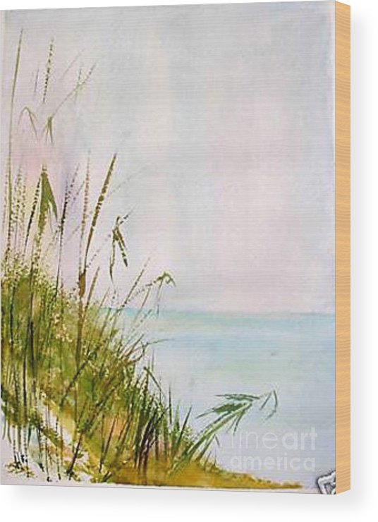Watercolor Wood Print featuring the painting Coastal Scene by Sibby S