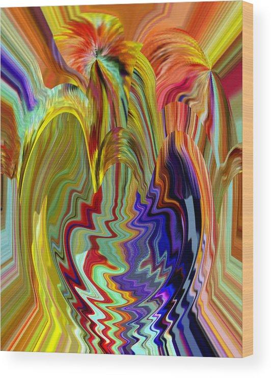 Beverly Kimble Davis Wood Print featuring the digital art Colorburst Vase by Beverly Kimble Davis