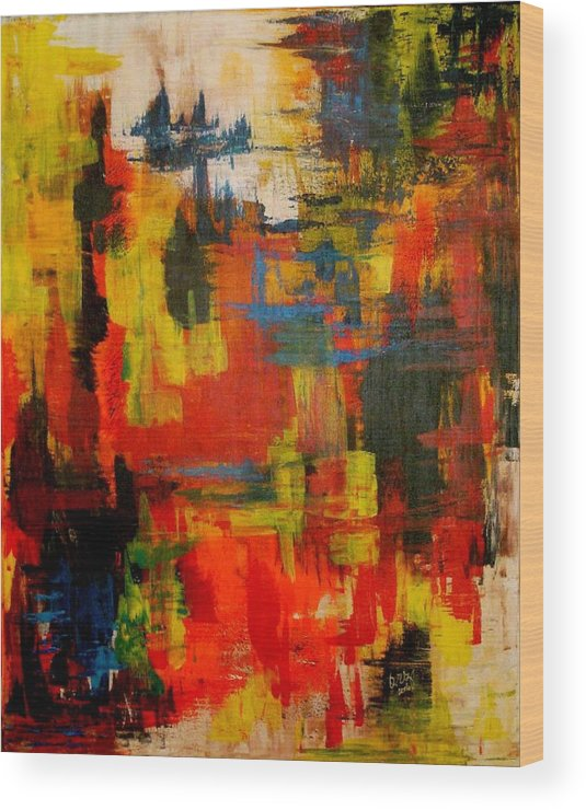 Abstract Wood Print featuring the painting Colorfull Dreams by Ofelia Uz