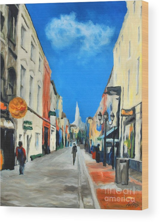Architectural Wood Print featuring the painting Cook Street  Cork Ireland by Anne Marie ODriscoll
