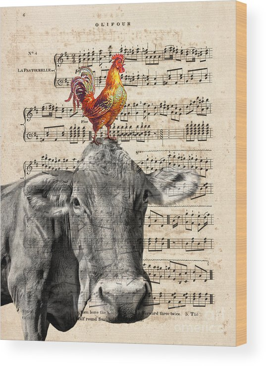 Cow Wood Print featuring the mixed media Cow And Rooster by Delphimages Photo Creations