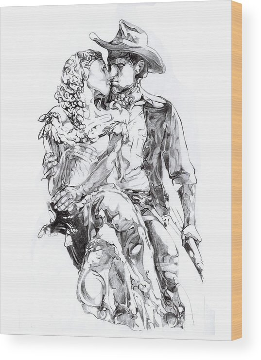 Black And White Wood Print featuring the drawing Cowboy by Mike Massengale