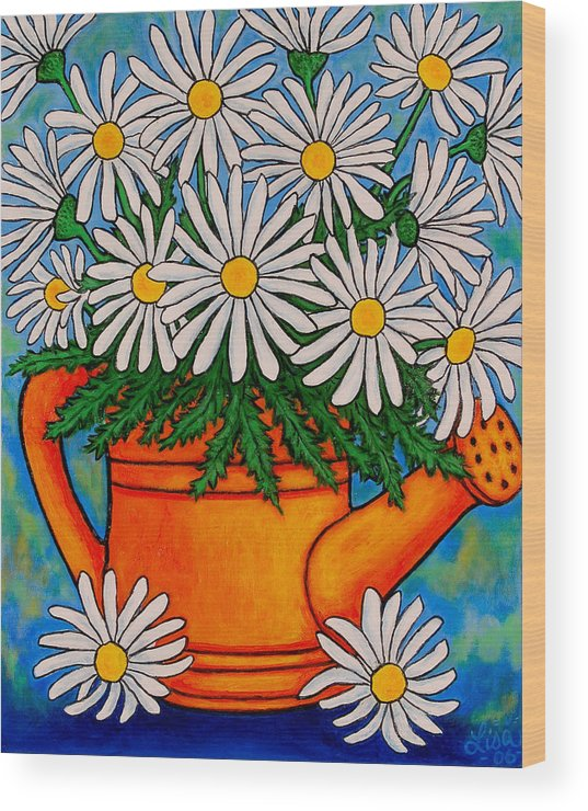 Daisies Wood Print featuring the painting Crazy For Daisies by Lisa Lorenz