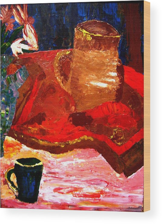 Still Life Wood Print featuring the painting Crock And Coffee by Karen L Christophersen