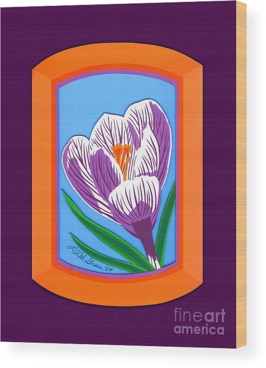 Nature Wood Print featuring the drawing Crocus by Lucyna A M Green