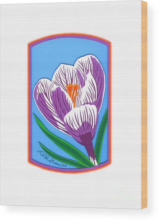 Nature Wood Print featuring the drawing Crocus Too by Lucyna A M Green