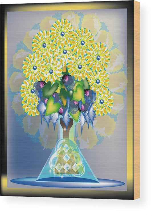Flowers Wood Print featuring the digital art Crystal Boquet by George Pasini