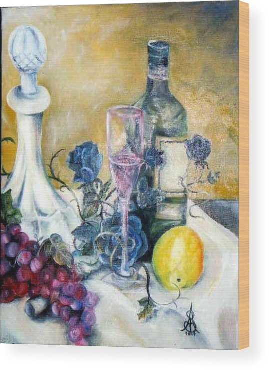 Still Life Wood Print featuring the painting Crystal Clear by Amanda Sanford