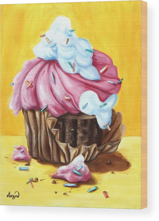 Cupcake Wood Print featuring the painting Cupcake by Maryn Crawford