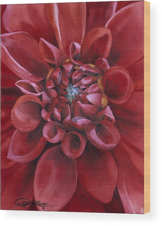 Flower Wood Print featuring the painting Dahlia by Craig Gallaway