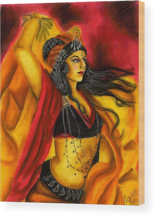 Belly Dancer Wood Print featuring the drawing Dancing With Fire by Scarlett Royal