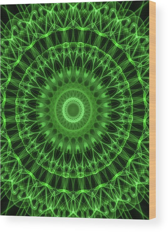 Mandala Wood Print featuring the digital art Dark And Light Green Mandala by Jaroslaw Blaminsky