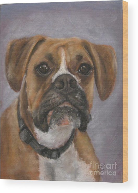 Boxers Wood Print featuring the painting Dave by Elizabeth Ellis