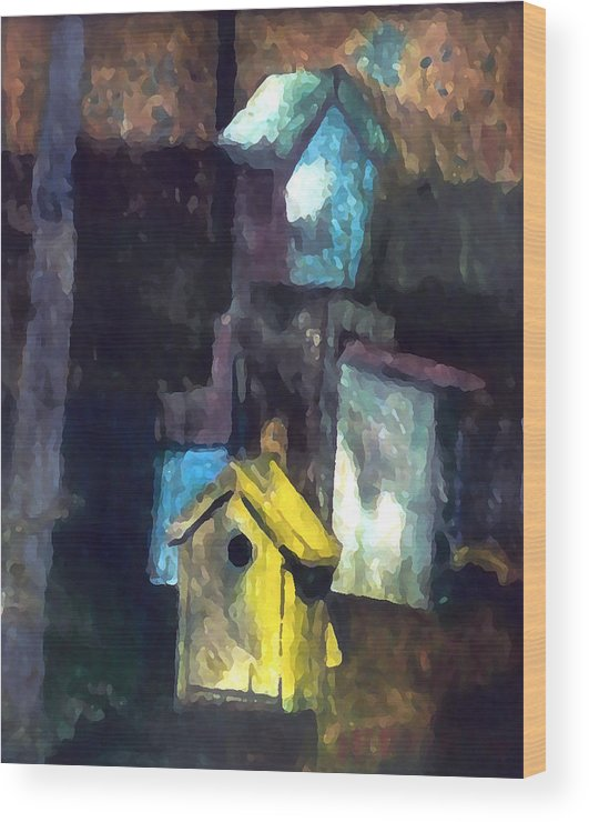 Birdhouses Wood Print featuring the painting David's Birdhouses by Tom Herrin