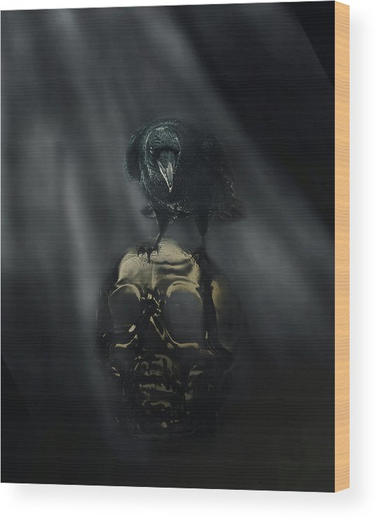 Raven Wood Print featuring the digital art Deep Into That Darkness Peering by Susan Capuano
