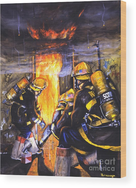 Firefighting Wood Print featuring the painting Devil's Doorway by Paul Walsh