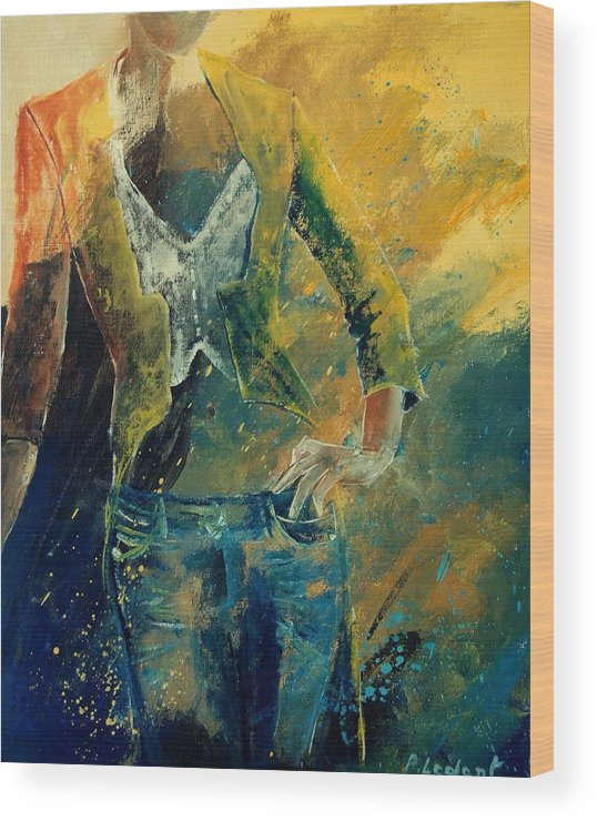 Woman Girl Fashion Wood Print featuring the painting Dinner Jacket by Pol Ledent