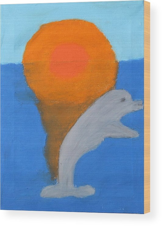 Dolphin Wood Print featuring the pastel Dolphin At Sunset by Melissa Parks