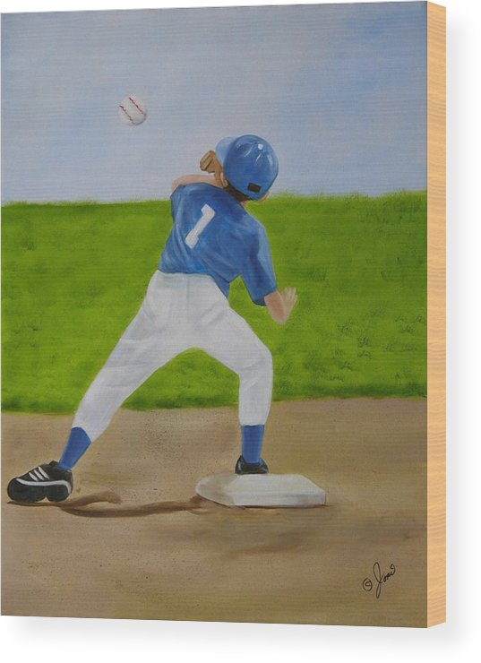 Sports Wood Print featuring the painting Double Play by Joni McPherson
