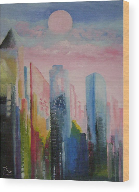 Abstract Wood Print featuring the painting Dream City No.1 by Lian Zhen