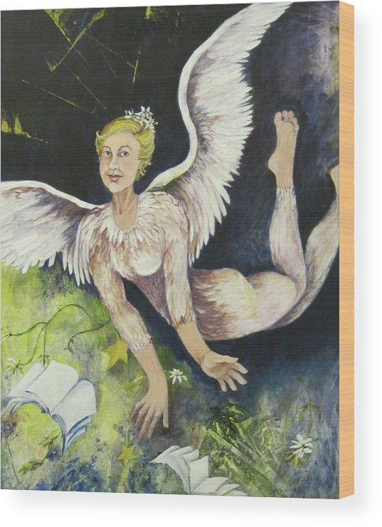 Figurative Painting Of A Flying Angel With Wings And Feathers Covering Body. Earth Angel Is Distributing Gifts Of Books Wood Print featuring the painting Earth Angel by Georgia Annwell