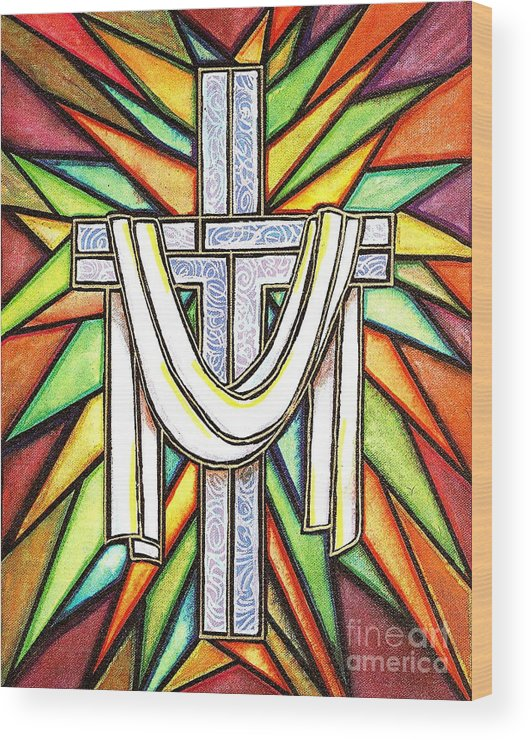 Cross Wood Print featuring the painting Easter Cross 5 by Jim Harris