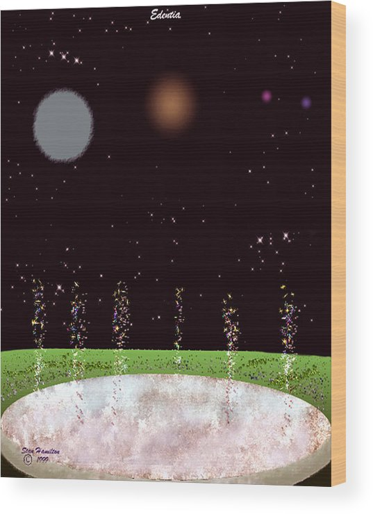 Edentia Wood Print featuring the digital art Edentia Sea Of Glass by Stan Hamilton