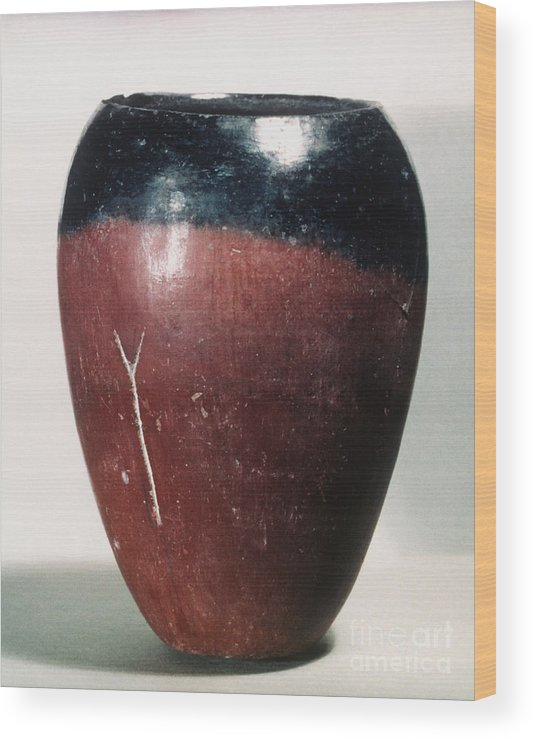 4000 B.c. Wood Print featuring the photograph Egyptian Vase, C4000 B.c by Granger