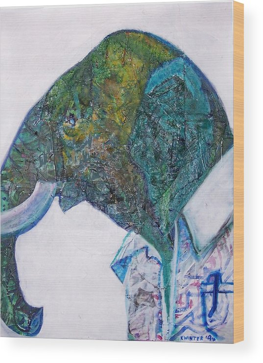 Elephant Wood Print featuring the mixed media Elephant Man by Dave Kwinter
