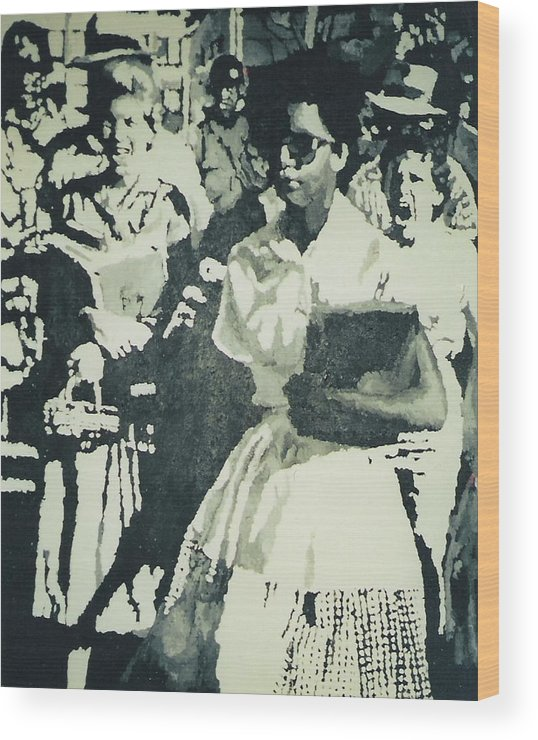 Civil Rights Wood Print featuring the painting Elizabeth Eckford Making Her Way To Little Rock High School 1958 by Lauren Luna