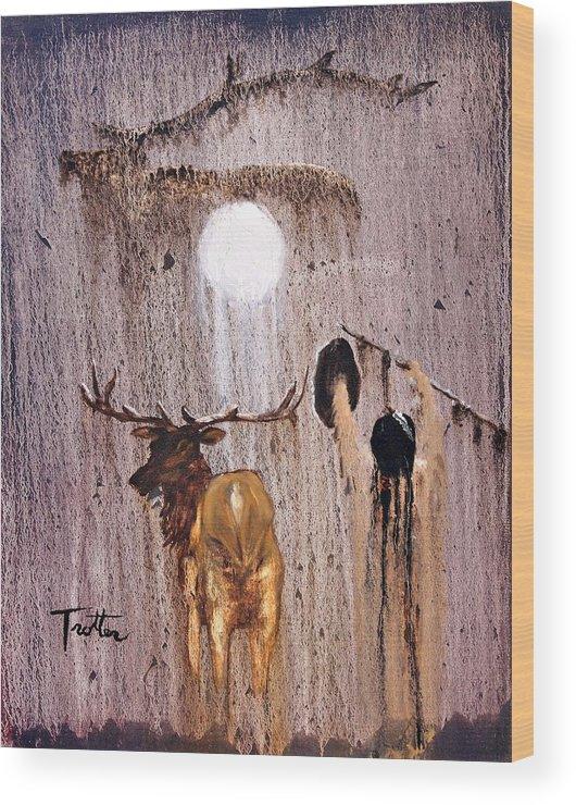 Native Art Wood Print featuring the painting Elk Spirit by Patrick Trotter