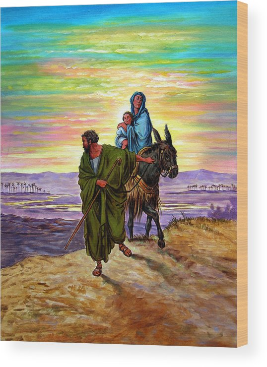 Jesus Wood Print featuring the painting Escape Into Egypt by John Lautermilch
