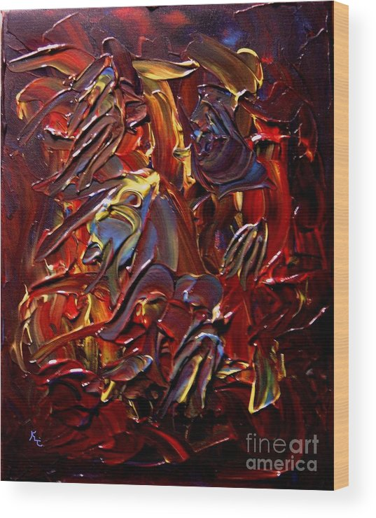 Faces Wood Print featuring the painting Faces And Angels by Karen L Christophersen