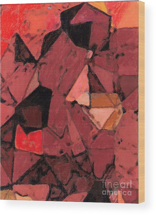 Facets Wood Print featuring the painting Facet #20170930 by John Warren OAKES