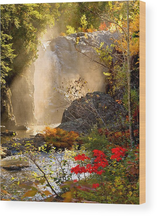 Fall Wood Print featuring the photograph Fall Falls Mist Dead River Falls Marquette Mi by Michael Bessler