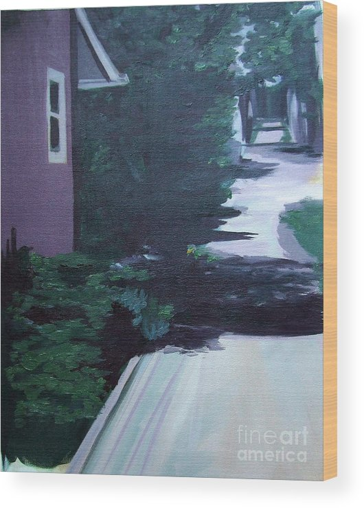 House Wood Print featuring the painting Findley Alley by Vanda Sucheston Hughes